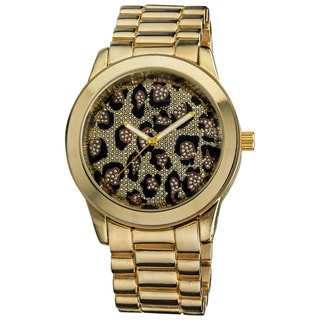 Vernier Women's Boyfriend Gold Leopard Glitter Dial Quartz Watch