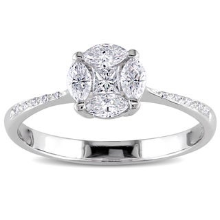 Miadora 18k Gold 2/5ct TDW Marquise and Princess Cut Diamond Ring (G-H, SI1-SI2)