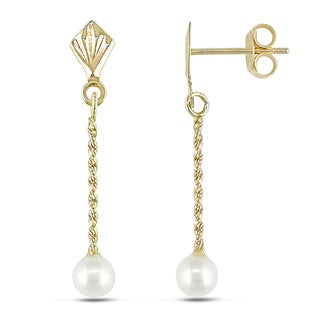Miadora 10k Yellow Gold White Pearl Dangle Earrings (4-4.5 mm)