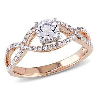 Miadora 14k Rose Gold Created White Sapphire and 1/4ct TDW Diamond Ring (G-H, I1-I2)