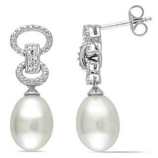 Miadora Sterling Silver Pearl and Diamond Dangle Earrings (9-9.5 mm)