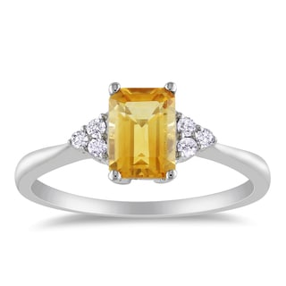 Miadora 10k White Gold Citrine and 1/10ct TDW Diamond Ring (H-I, I2-I3)