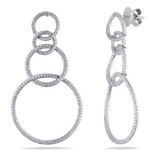 Miadora 18k Gold 2 1/2ct TDW Interlocking Circle Diamond Dangle Earrings (G-H, SI1-SI2)