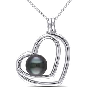 Miadora Sterling Silver Tahitian Pearl Heart Necklace (9.5-10 mm)