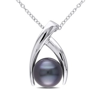 Miadora Sterling Silver Tahitian Black Pearl Necklace (9.5-10 mm)