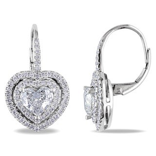 Miadora 14k Gold 2 1/6ct TDW Leverback Heart Diamond Earrings (G-H, I1-I2)