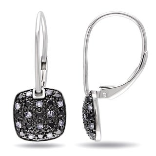 Miadora Sterling Silver 1/2ct TDW Black and White Diamond Earrings (G-H, I2-I3)