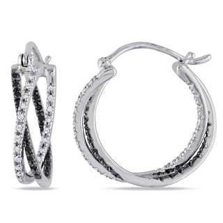 Haylee Jewels Sterling Silver 1/4ct TDW Black and White Diamond Earrings (H-I, I2-I3)