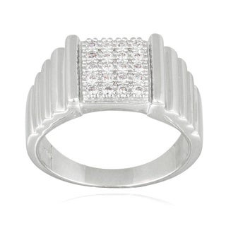 Icz Stonez Cubic Zirconia Square Cube Men's Ring