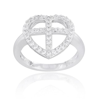 Icz Stonez Silvertone Cubic Zirconia Cross Heart Ring