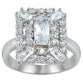 Icz Stonez Sterling Silver White Emerald-cut Cubic Zirconia Bridal-style Ring