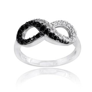 Icz Stonez Silvertone Black and White Cubic Zirconia Infinity Ring