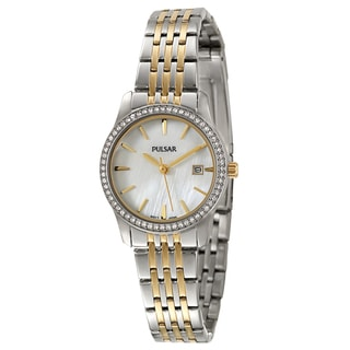 Pulsar Women's 'Crystal' Stainless Steel Yellow-goldplated Japanese Quartz Watch