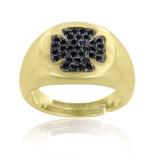 Icz Stonez Gold Overlay Black Cubic Zirconia Pattee Cross Ring