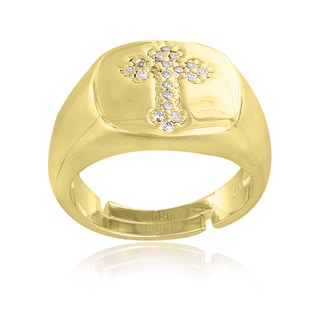Icz Stonez Gold overlay Cubic Zirconia Cross Ring