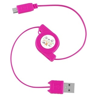 Insten Hot Pink Retractable 2-in-1 Micro USB Charging Data Transfer Cable Cord for Motorola Nexus 6/ Samsung Galaxy S6/ Edge