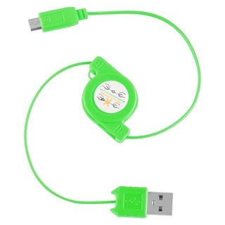 BasAcc Green Universal Micro USB 2-in-1 Retractable Cable