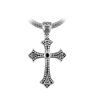 Sterling Silver & Onyx Beaded Beauty Cross Pendant (Indonesia)