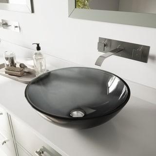 VIGO Sheer Black Glass Vessel Sink and Brushed Nickel Wall Mount Faucet Set
