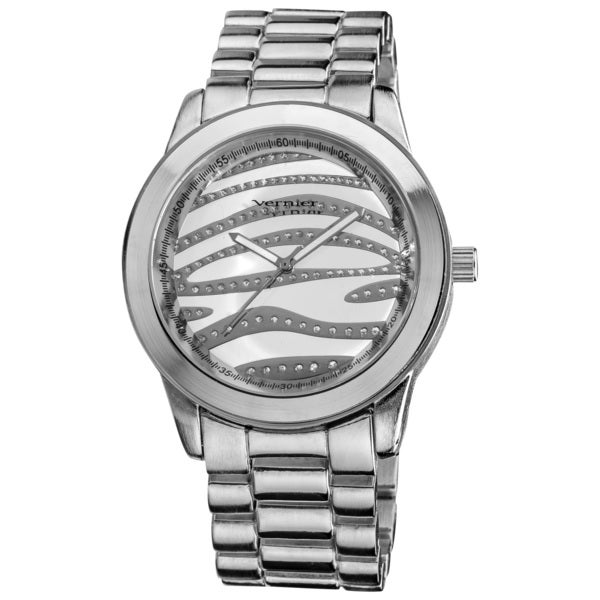 Vernier Women's Boyfriend Silver Zebra Glitter Dial Quartz Watch