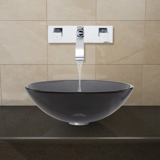 VIGO Sheer Black Glass Vessel Sink and Chrome Wall Mount Faucet Set