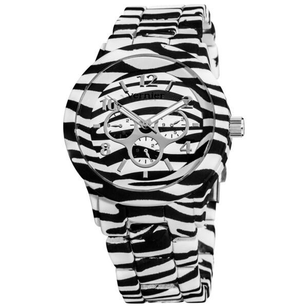 Vernier Women's Allover Zebra Faux Chronograph Bracelet Watch
