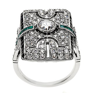 Platinum Emerald and 1 4/5ct TDW Diamond Antique Cocktail Ring (H-I, SI1-SI2)