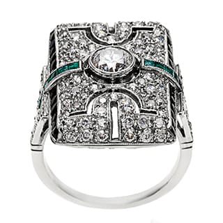 Pre-owned Platinum Emerald and 1 4/5ct TDW Diamond Antique Cocktail Ring (H-I, SI1-SI2)