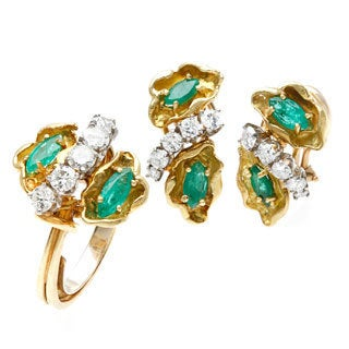Pre-owned 18k Yellow Gold 1 1/2ct TDW Emerald Estate Jewelry Set (F-G, SI1-SI2)