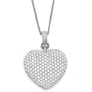 18k White Gold 12ct TDW Giant Heart Estate Necklace (F-G, VS1-VS2)
