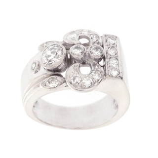 14k White Gold 3/4ct TDW Fleur de lis Estate Ring (H-I, SI1-SI2)