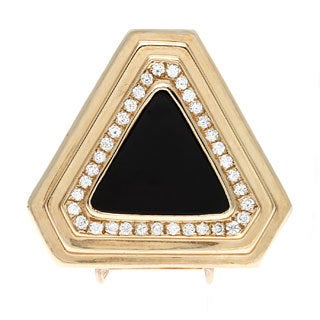 Pre-owned 14k Yellow Gold 1ct TDW Triangular Onyx Estate Enhancer (G-H, SI1-SI2)