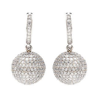 18k White Gold 5ct TDW Disco-ball Estate Earrings (I-J, SI1-SI2)