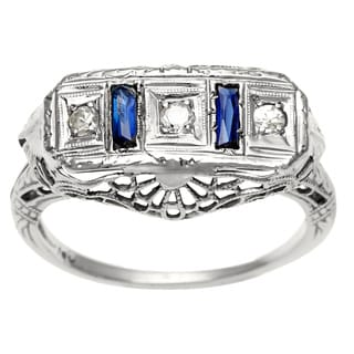 14k White Gold Antique Sapphire and 1/10ct TDW Diamond Estate Ring (H-I, SI1-SI2)