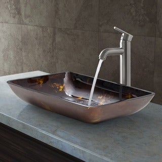 VIGO Rectangular Brown and Gold Fusion Glass Vessel Sink and Brushed Nickel Faucet Set