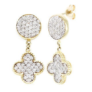 18k Yellow Gold 2 1/3ct TDW Double Sided Clover Leaf Estate Earrings (G-H, SI1-SI2)