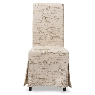 Baxton Studio Picard French Script Beige Linen Modern Dining Chairs (Set of 2)