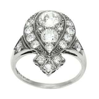 Platinum 2ct TDW Diamond Antique Cocktail Ring (H-I, SI1-SI2)