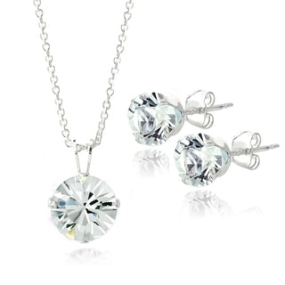 Crystal Ice Sterling Silver Crystal Necklace and Earrings Set