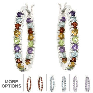 Glitzy Rocks Multi-gemstones Hoop Earrings