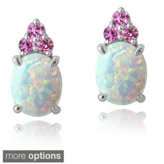 Glitzy Rocks Sterling Silver Created Opal and Sapphire Earrings