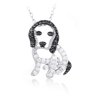 Icz Stonez Sterling Silver Black and White Cubic Zirconia Dog Necklace