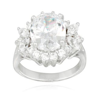 Icz Stonez Sterling Silver Cubic Zirconia Floral Bridal-style Ring
