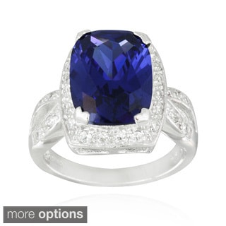 Icz Stonez Sterling Silver Blue and White Cubic Zirconia Ring