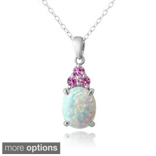Glitzy Rocks Sterling Silver Created Opal and Sapphire Necklace