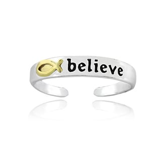 Mondevio Yellow Gold and Sterling Silver Two-tone 'Believe' Toe Ring