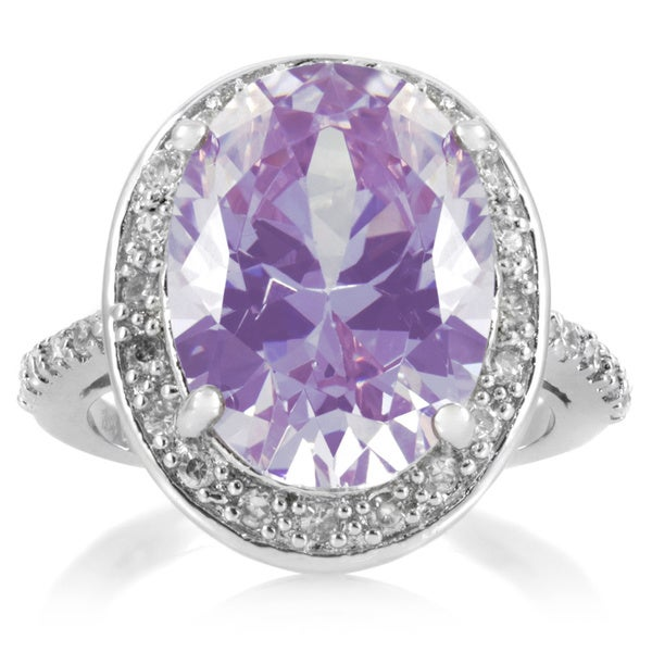 Sterling Silver Purple and Clear Cubic Zirconia Cocktail Ring