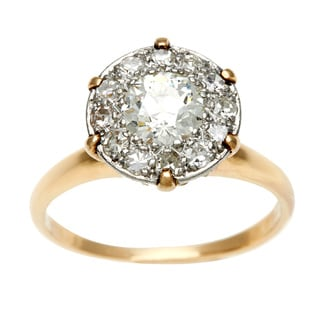 14k Yellow Gold 1ct TDW Diamond Antique Cluster Ring (H-I, VS1-VS2)
