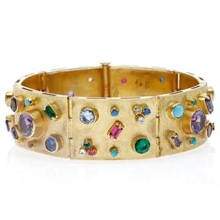14k Yellow Gold 1960's Gemstone Charm Bracelet