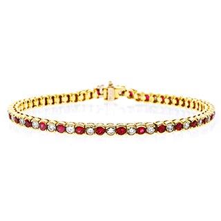 Pre-owned 18k Yellow Gold Rubies and 2ct TDW Diamonds Estate Bracelet (G-H, VS1-VS2)